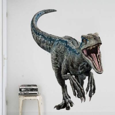 Adesivo de parede Dinossauro Velociraptor Blue