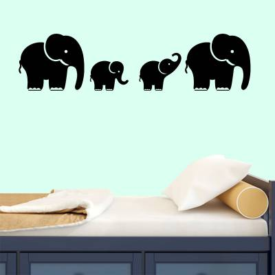 Adesivo de Parede Infantil Família De Elefantes