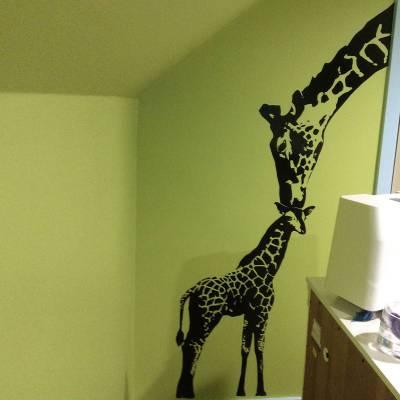 Adesivo de Parede Animais Família Girafa