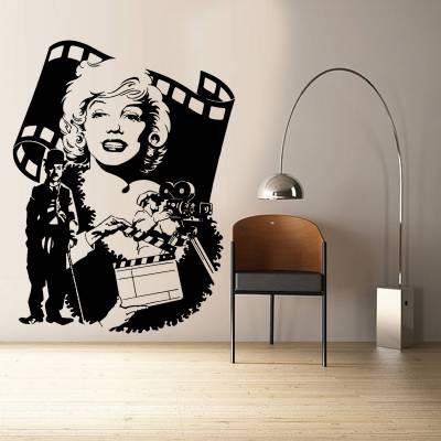 Adesivo De Parede Retrô Marilyn Monroe E Charles Chaplin