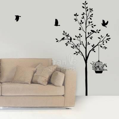 Adesivo de Parede Floral Árvore e Pássaros