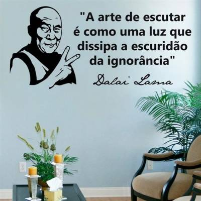 Adesivo de Parede Frase - Dalai Lama - A arte de escutar