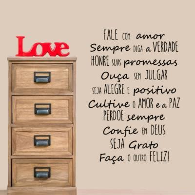 Adesivo de Parede Frase Fale com Amor