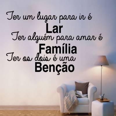 Adesivo De Parede Frase Família Benção