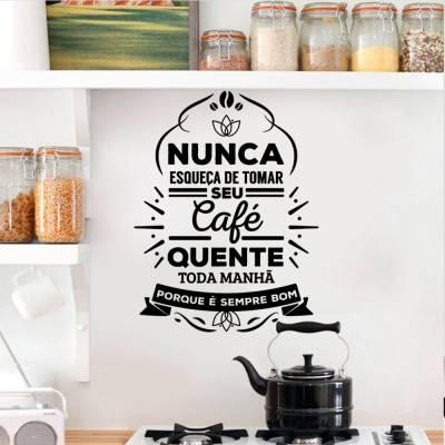Adesivo De Parede Nunca Esqueça De Tomar Café Todo Dia
