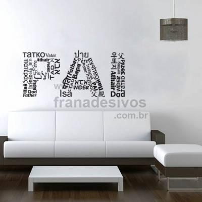 Adesivo de Parede Frase - PAI em vários idiomas