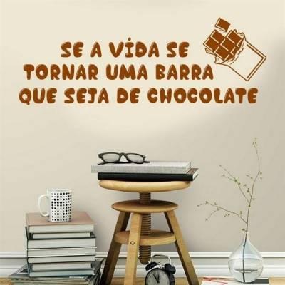 Adesivo de Parede Frase Uma Barra de Chocolate
