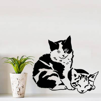 Adesivo De Parede Animais Gatinhos Irmãos