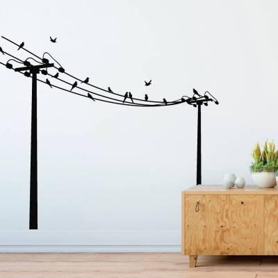 Adesivo De Parede Grandes Postes Com Pássaros