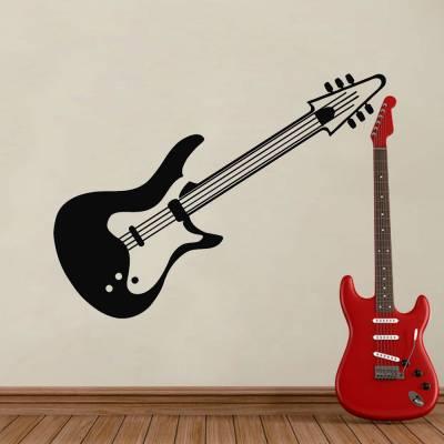 Adesivo De Parede Guitarra Inclinada