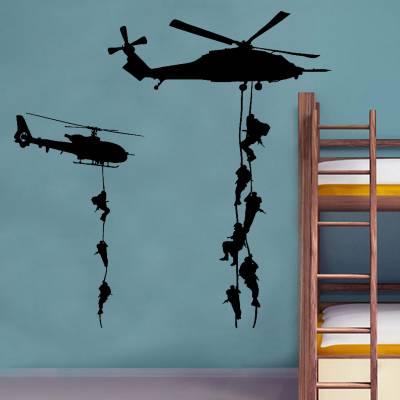 Adesivo De Parede Diversos Helicóptero com Soldados