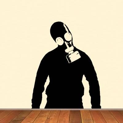 Adesivo de Parede Homem com Mascara de Gás