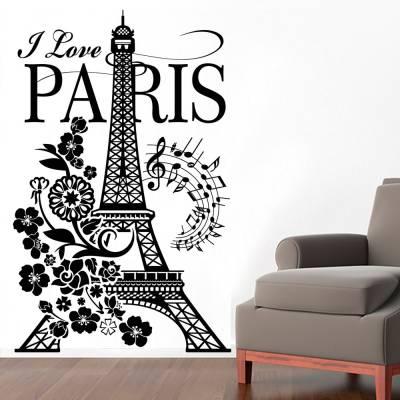 Adesivo de Parede Paris Torre Eiffel e Flores