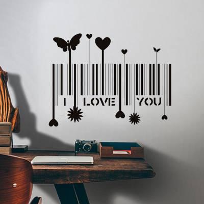 Adesivo De Parede Código De Barras I Love You