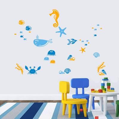 Adesivo De Parede Infantil Animais Fundo Do Mar