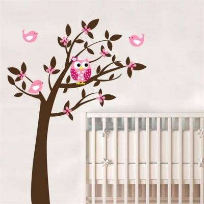 Adesivo de Parede Infantil Árvore e Corujinha