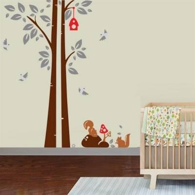 Adesivo de Parede Infantil Arvore com Esquilos