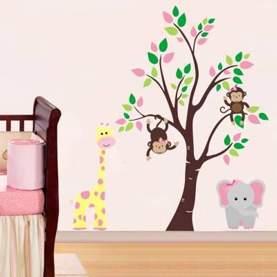 Adesivo De Parede Infantil Arvore Girafinha e Elefantinha