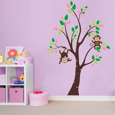 Adesivo de parede Infantil Arvore macaquinhas feliz