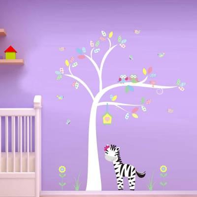 Adesivo De Parede Infantil Arvore com Zebrinha e Passaro