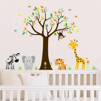 Adesivo De Parede Infantil Safári Baby Animais da Floresta Feliz