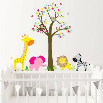 Adesivo De Parede Infantil Arvore Safári Baby Animais da Selva