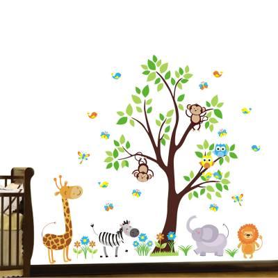 Adesivo De Parede Infantil Arvore Safári Baby Animais do Zoo