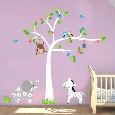 Adesivo De Parede Infantil Safári Baby com Elefantinha com Florzinha