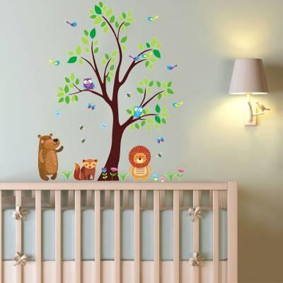 Adesivo De Parede Infantil Safári Baby Animais Divertido