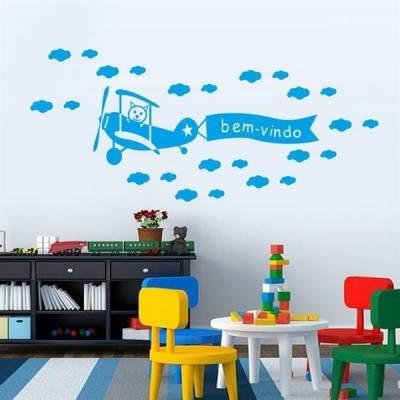 Kit de Adesivos Decorativo para Quarto Infantil Aviãozinho nas nuvens