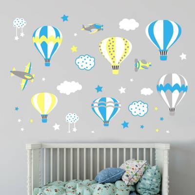 Adesivo De Parede Infantil Balão Com Nuvens