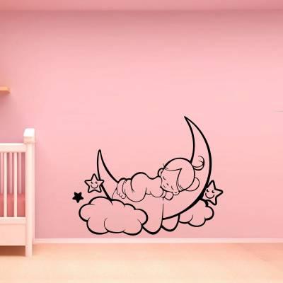 Adesivo de Parede Infantil Bebe na Lua