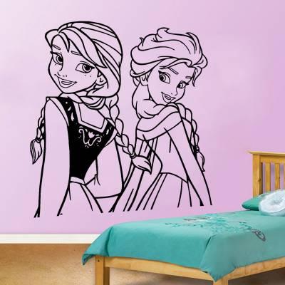 Adesivo de Parede Infantil Elsa e Anna 3