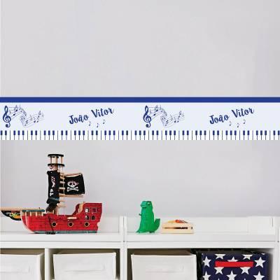 Adesivo de parede infantil Faixa musical com nome personalizado
