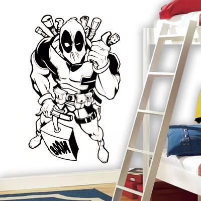 Adesivo de Parede Heróis Deadpool Com Bomba