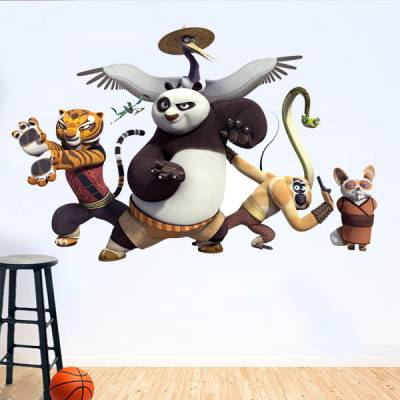 Adesivo de Parede Kung Fu Panda Turma