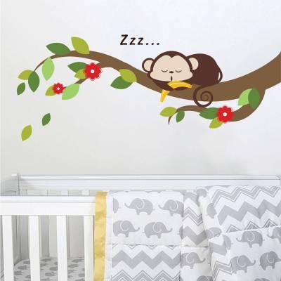 Adesivo De Parede Infantil Macaquinho Baby no Galho Dormindo