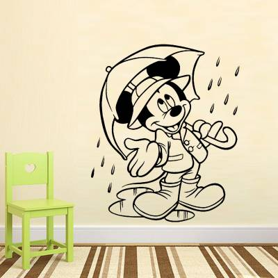 Adesivo De Parede Infantil Mickey com Guarda chuva