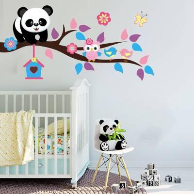 Adesivo De Parede Panda no Galho com Corujinha