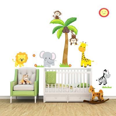 Adesivo De Parede Infantil Safári Baby Fofinho