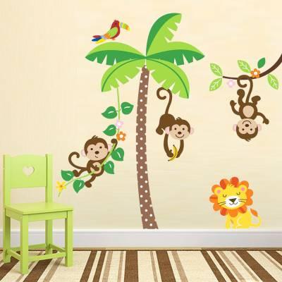 Adesivo De Parede Infantil Safári Baby Macaquinhos e Leão