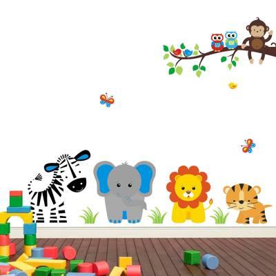 Adesivo De Parede Infantil Turminha Do Zoo Feliz