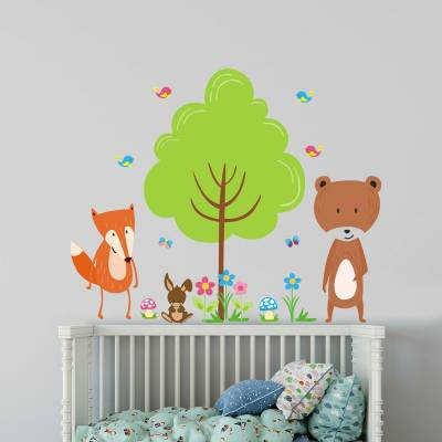 Adesivo De Parede Infantil Turminha Da Floresta Encantada