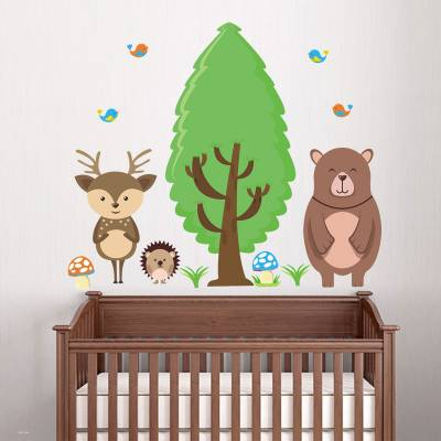 Adesivo De Parede Infantil Turminha Da Floresta Encanto Feliz