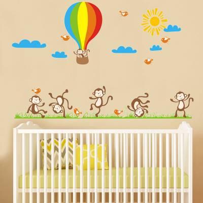 Adesivo De Parede Infantil Macaquinhos Amigos e Balão
