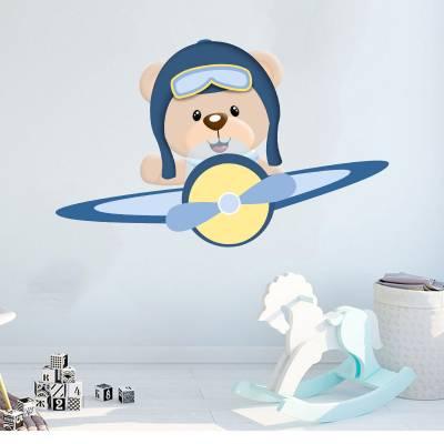 Adesivo De Parede Infantil Ursinho Príncipe Aviador