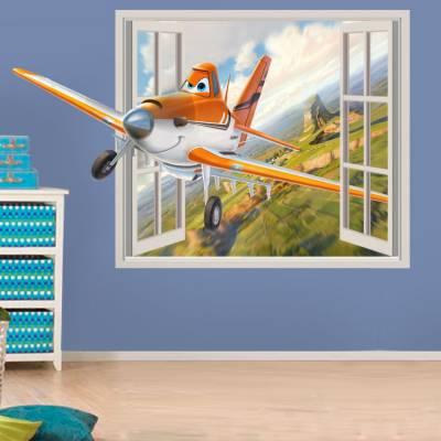 Adesivo de Parede Janela Falsa 3D Aviões