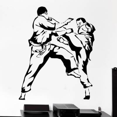 Adesivo De Parede Karateca Chute Alto