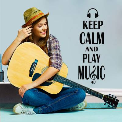 Adesivo De Parede Keep Calm And Play Music