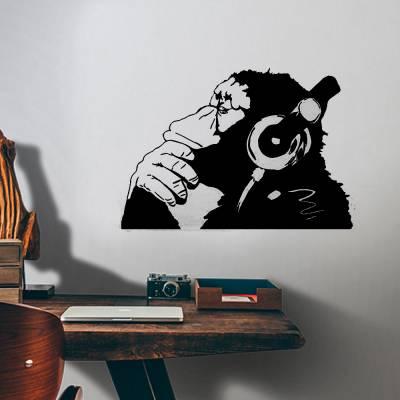 Adesivo De Parede Macaco Chimpanzé Com Fone De Ouvido